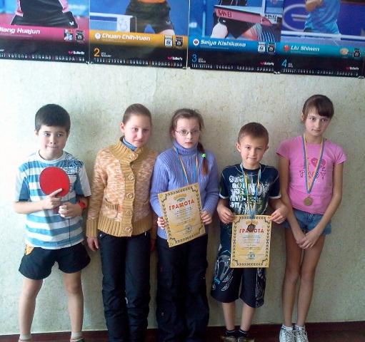 Победители и призеры команды из Славуты. Слева направо: Влад Кухарчук, Лена Лавренюк, Даша Шабурова, Саша Лукьяненко, Вероника Олийнык