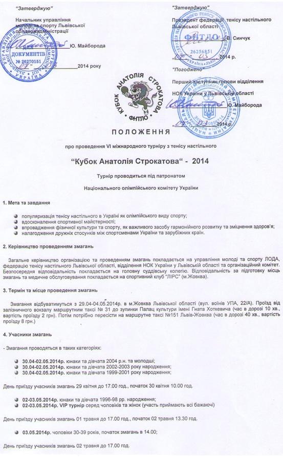 Положение Кубок Строкатова 1