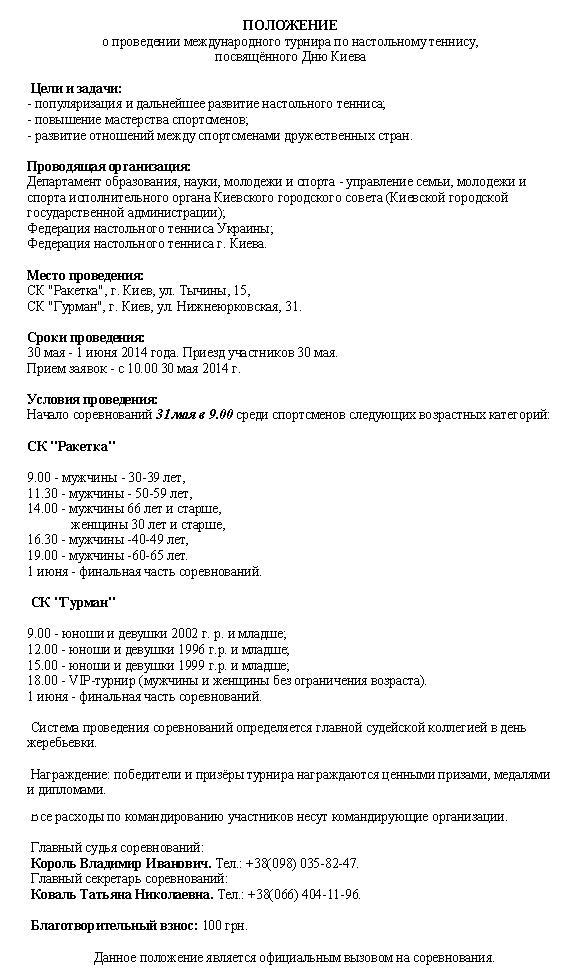 Положение турнира в Киеве