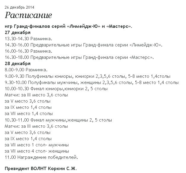 Расписание ВОЛНТ