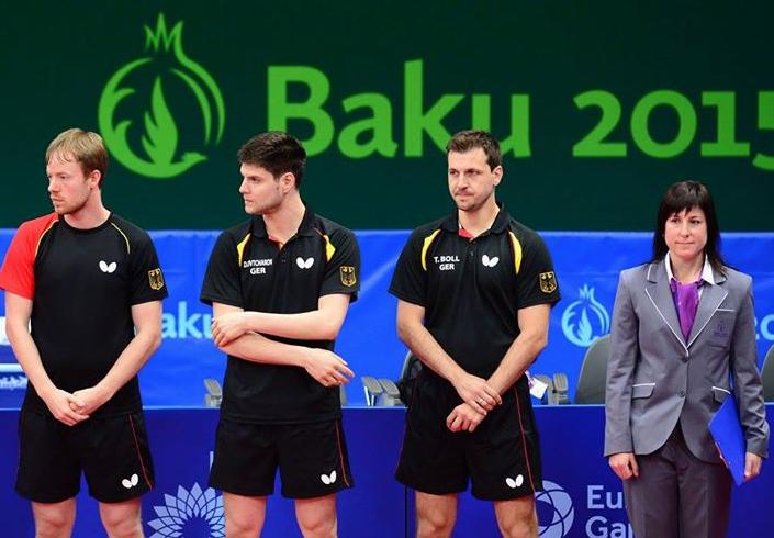 Сборная Германии по настольному теннису: Патрик Баум, Дмитрий Овчаров, Тимо Болл. Фото сайта Федерации НТ Германии